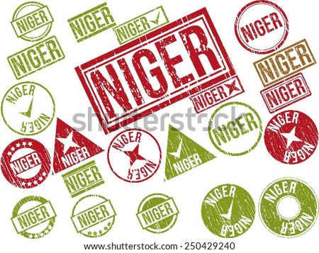"Collection of 22 red grunge rubber stamps with text ""NIGER"". Vector illustration"