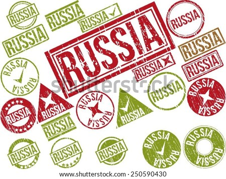 "Collection of 22 red grunge rubber stamps with text ""RUSSIA"". Vector illustration"