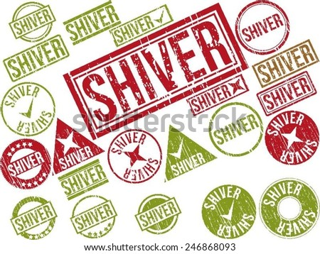 "Collection of 22 red grunge rubber stamps with text ""SHIVER"" . Vector illustration"