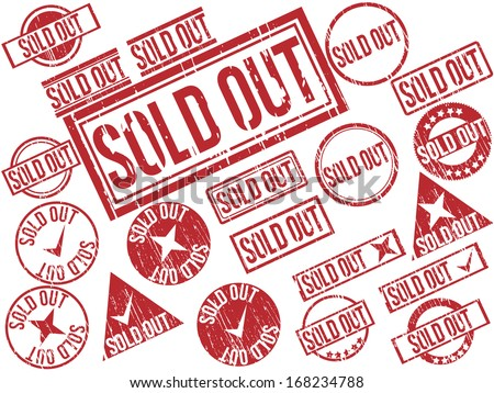 "Collection of 21 red grunge rubber stamps with text ""SOLD OUT"" . Vector illustration - stock vector"