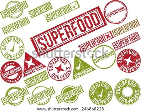 """Collection of 22 red grunge rubber stamps with text """"SUPERFOOD"""" . Vector illustration - stock vector"""