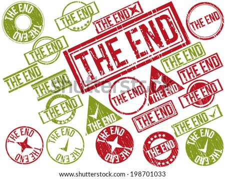 "Collection of 22 red grunge rubber stamps with text ""THE END"" . Vector illustration"