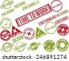 "Collection of 22 red grunge rubber stamps with text ""TIME TO WORK"" . Vector illustration - stock photo"