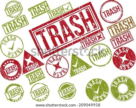 "Collection of 22 red grunge rubber stamps with text ""TRASH"" . Vector illustration"
