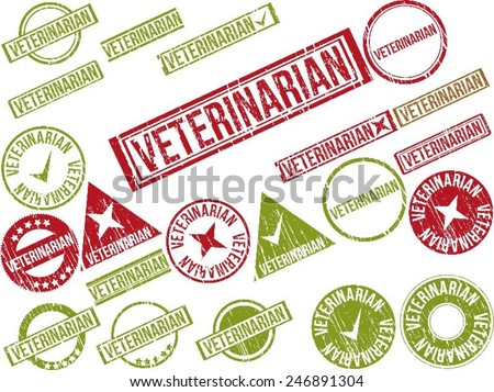 """Collection of 22 red grunge rubber stamps with text """"VETERINARIAN"""" . Vector illustration - stock vector"""