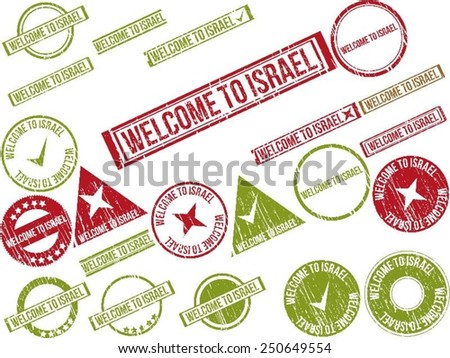 """Collection of 22 red grunge rubber stamps with text """"WELCOME TO ISRAEL"""". Vector illustration - stock vector"""