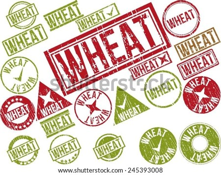 "Collection of 22 red grunge rubber stamps with text ""WHEAT"" . Vector illustration"
