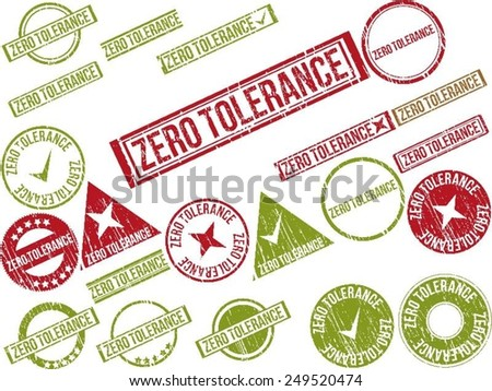 """Collection of 22 red grunge rubber stamps with text """"ZERO TOLERANCE"""" . Vector illustration - stock vector"""
