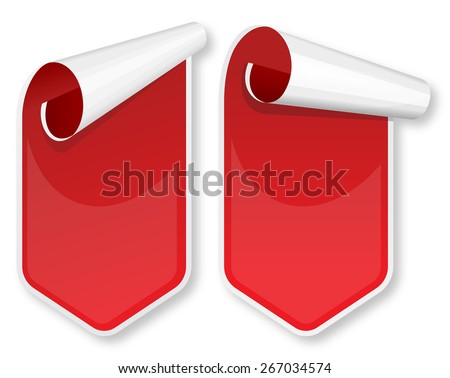 Collection of red packing stickers. Vector illustration  - stock vector