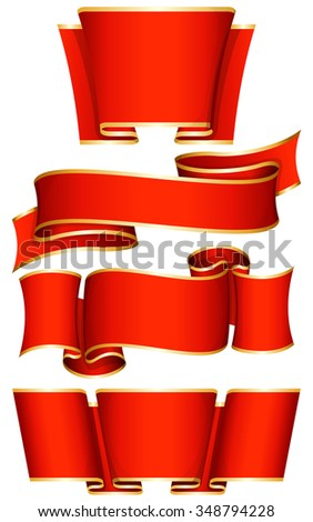 Collection of 4 red ribbon. Vector illustration  - stock vector