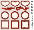 Collection of red romantic page design elements, labels, banners, ribbons for Valentine's Day and other occasions, in a shape of heart, circle and square, isolated on light background - Vector set - stock vector