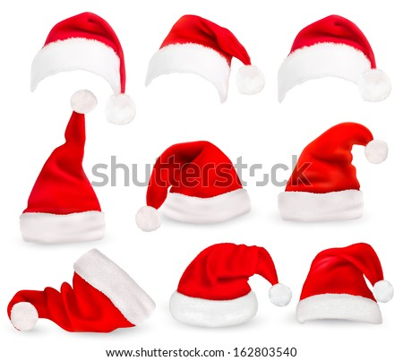 Collection of red santa hats. Vector.  - stock vector