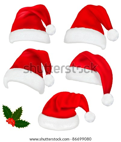 Collection of red santa hats with and Christmas holly. Vector. - stock vector