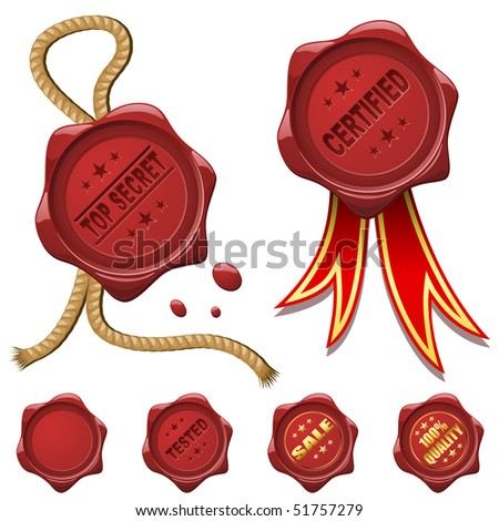 Collection of red wax seals isolated on white. - stock vector