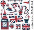 collection of red white and blue united kingdom design elements, isolated on white - stock vector
