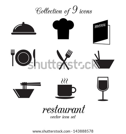Collection of 9 restaurant icons. Vector illustration. - stock vector