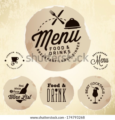 Collection of Restaurant Menu Design Elements in Vintage Style