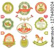 Collection of retro baby design labels, symbols and elements. - stock photo