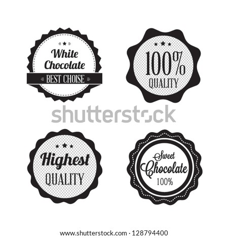 Collection of Retro Chocolate Vintage Label Set with retro vintage styled design. - stock vector