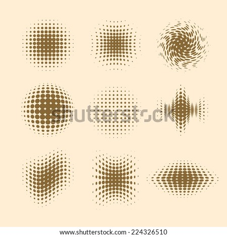 Collection of retro halftone effects. Vector eps10. - stock vector