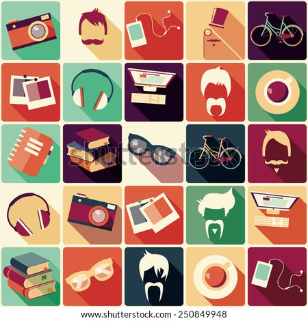 Collection of retro hipster elements, hairstyles and items, vector illustration - stock vector
