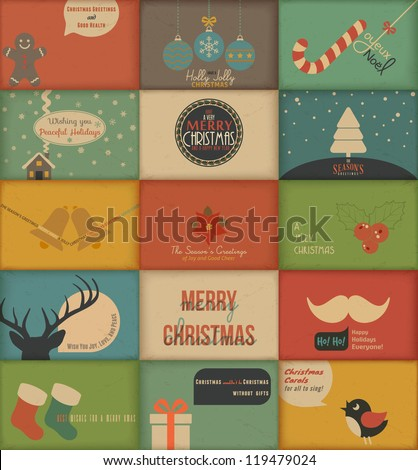 Collection of retro Holidays cards. Vector Illustration. - stock vector