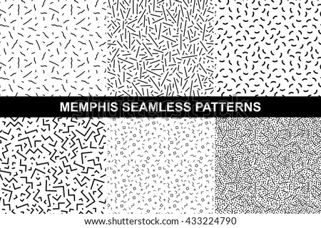 Collection of retro memphis patterns - seamless. Fashion 80-90s. Black and white mosaic textures. - stock vector