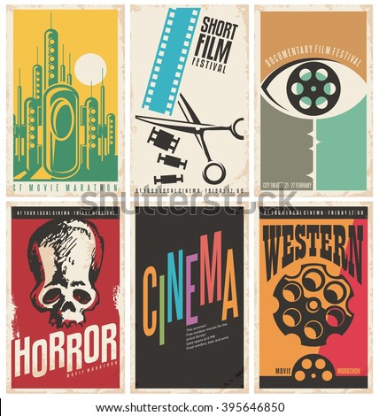 Collection Retro Movie Poster Design Concepts Stock Vector ...