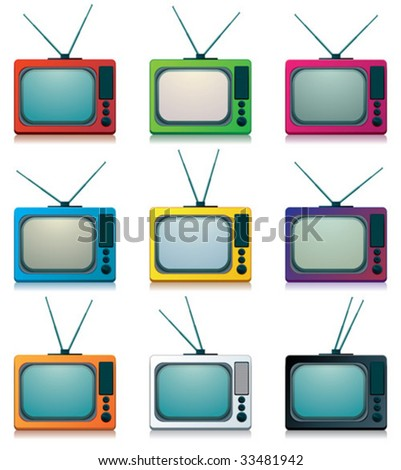 collection of retro tv - stock vector