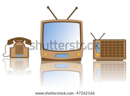 Collection of retro tv, radio and telephone - stock vector