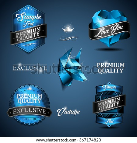 Collection of retro vintage stickers. Color of blue. Design labels. - stock vector