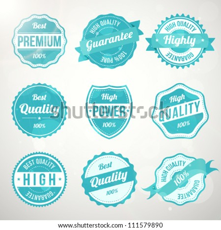 Collection of retro vintage turquoise design labels - stock vector