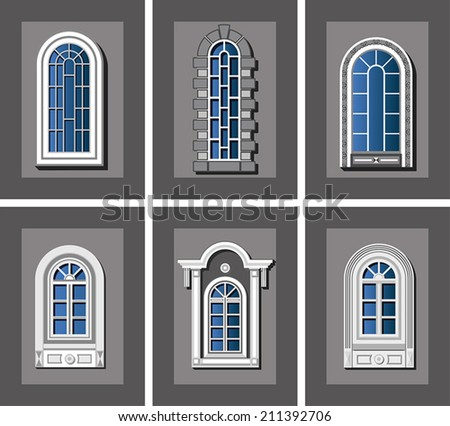 collection retro windows stock vector 211392706 shutterstock