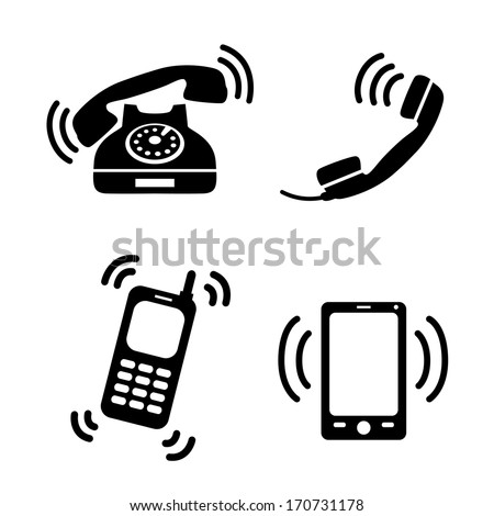 Collection of ringing classic telephone mobile and smart phone isolated vector illustration - stock vector