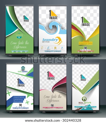Collection of Roll Up Banner Design - stock vector