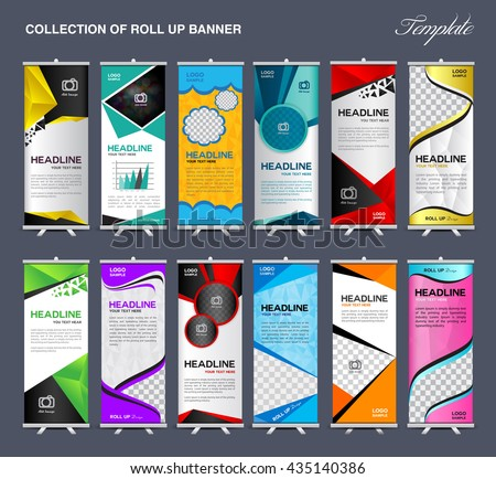 collection roll banner design stand template stock vector 435140386 shutterstock. Black Bedroom Furniture Sets. Home Design Ideas