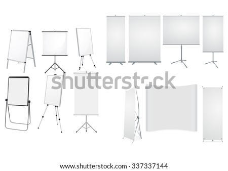 Collection of Roll up with stands  - stock vector