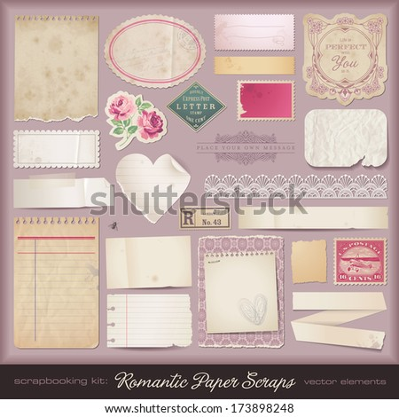 collection of romantic paper scraps and design elements - stock vector