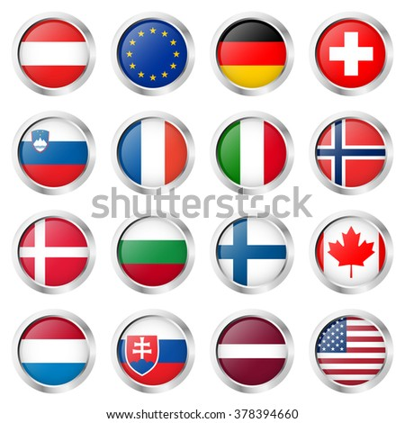 collection of round buttons with different country flags and silver frame