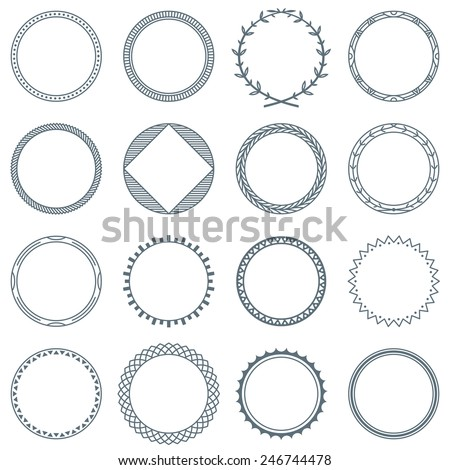 Collection of 16 Round Decorative Frames and Labels with Lines, Geometric Forms and Natural Curves - stock vector