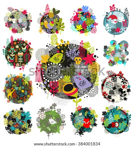 Collection of round prints and floral labels. Vector background of grass, leaves, flowers and animal. - stock vector