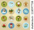 Collection of round winter and Christmas post stamps - stock vector