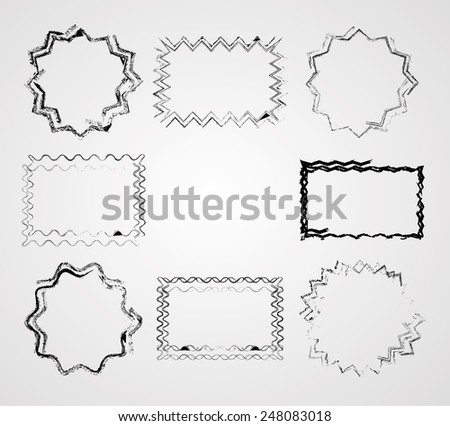 Collection of Rounded and Checkered Wavy Distressed Border Frames. Vector Illustration.  - stock vector