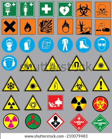 Collection 38 Safety Warning Signs Warning Stock Vector Royalty