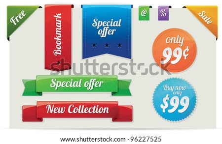 Collection of sale and announcement stickers, labels, bookmarks