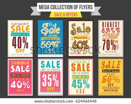 Collection Sale Flyers Different Discount Offers Vector – Discount Flyer Template