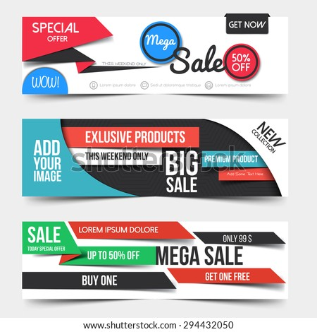 Collection of Sale Discount Styled Banners. Creative website header with place holder. Vector - stock vector