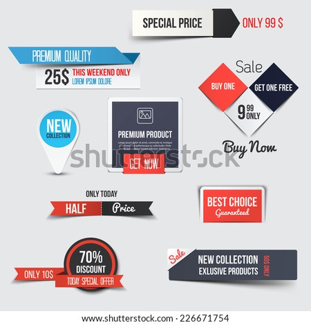 Collection of Sale Discount Styled Banners. Vector - stock vector