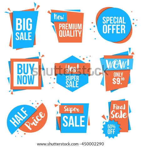 Collection of Sale Discount Styled origami Banners, Labels, Tags, Emblems. Flat design. Vector - stock vector