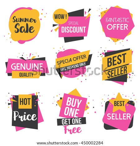 Collection of Sale Discount Styled origami Banners, Labels, Tags, Emblems. Vector - stock vector